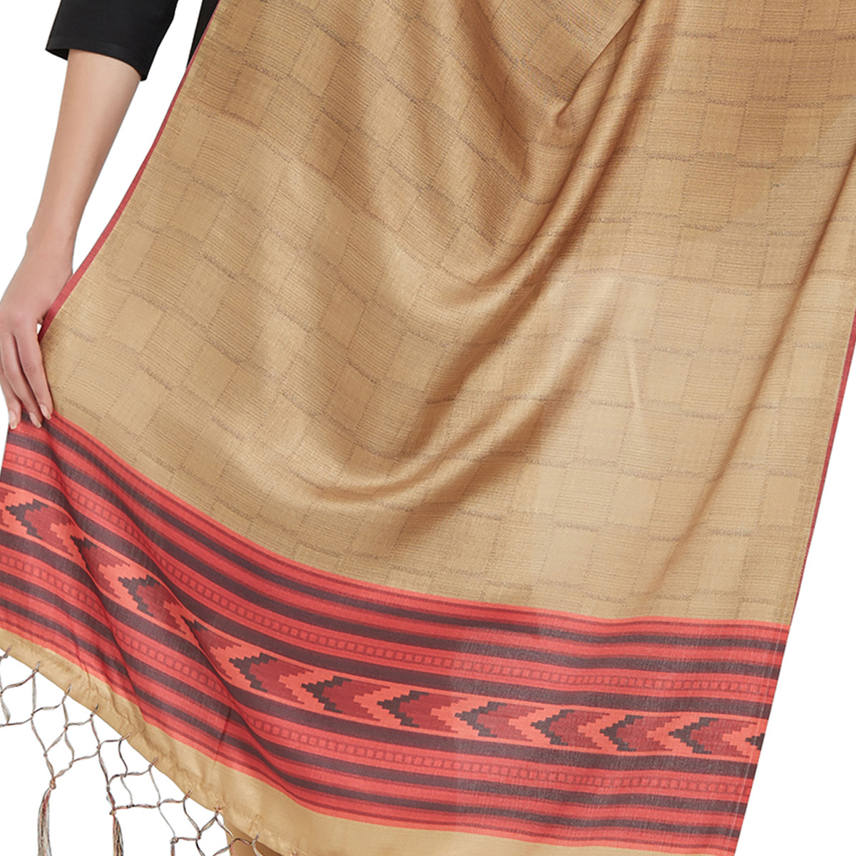 Excellent Beige Colored Casual Printed Pashmina Silk Dupatta