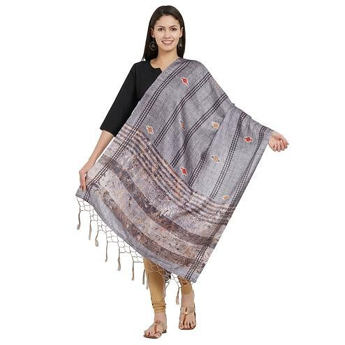 Preferable Gray Colored Casual Printed Pashmina Silk Dupatta