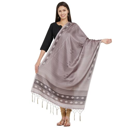 Marvellous Gray Colored Casual Printed Pashmina Silk Dupatta
