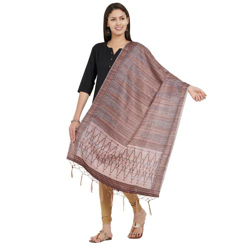 Flamboyant Light Brown Colored Casual Printed Pashmina Silk Dupatta