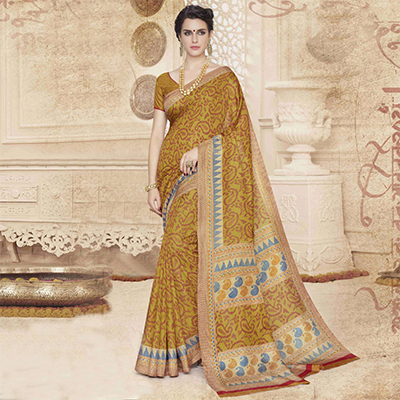 Mustard Yellow Traditional Design Printed Saree