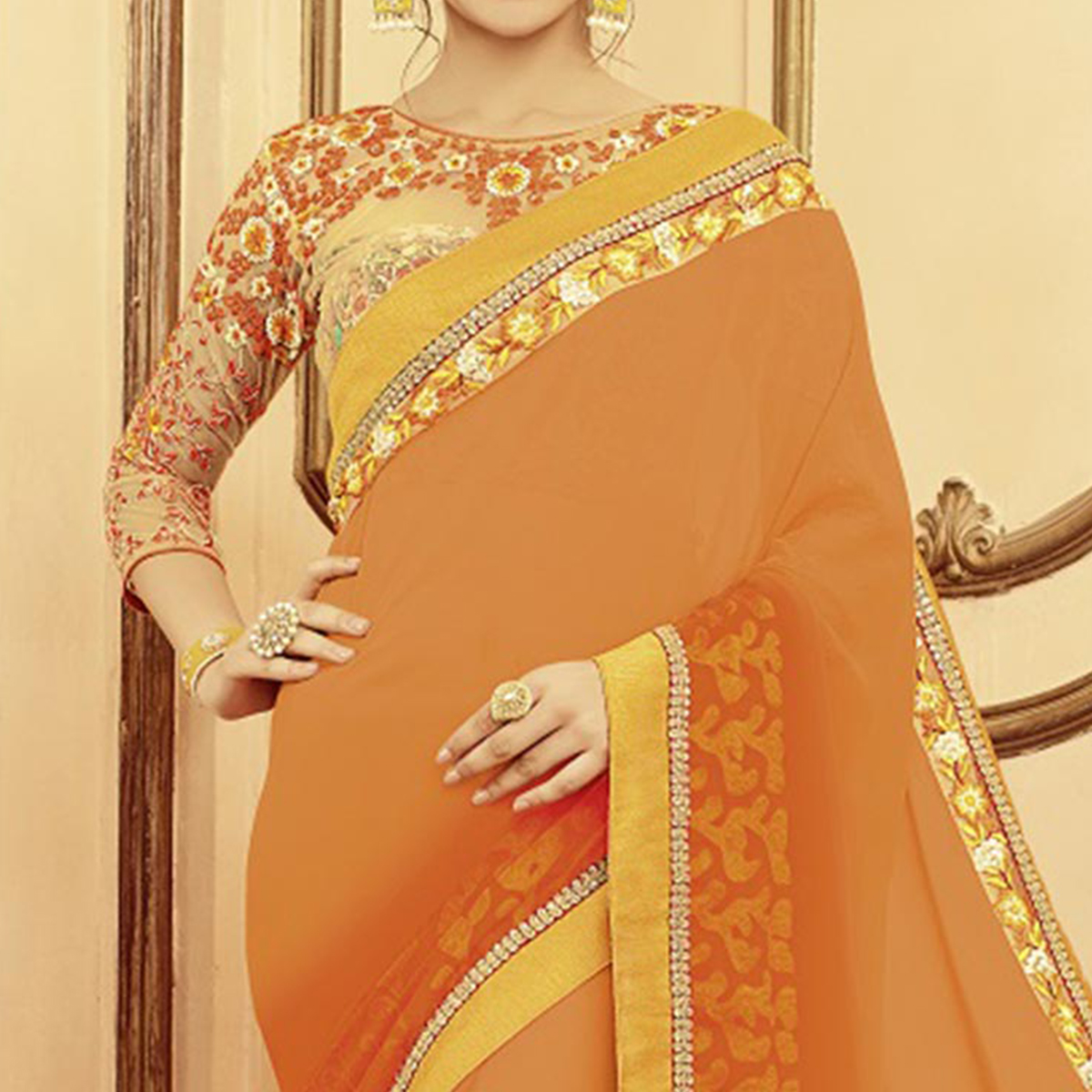 Shaded Orange Designer Blouse Pure Silk Saree
