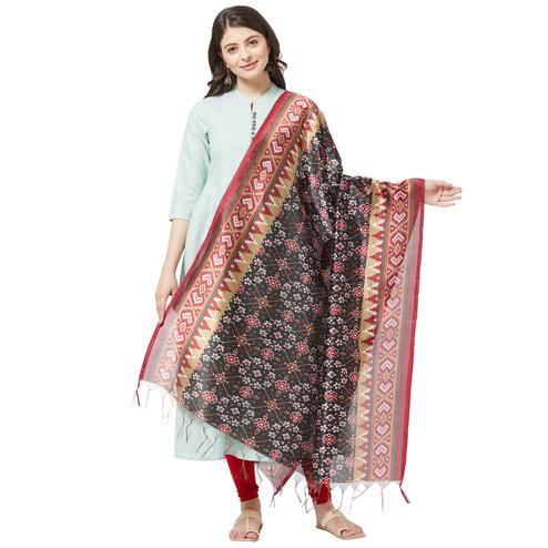 Jazzy Black Colored Casual Printed Art Silk Dupatta