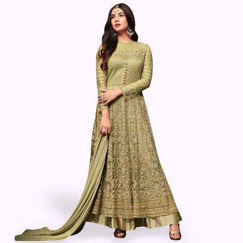 Sensational Green Colored Partywear Embroidered Netted Lehenga Kameez