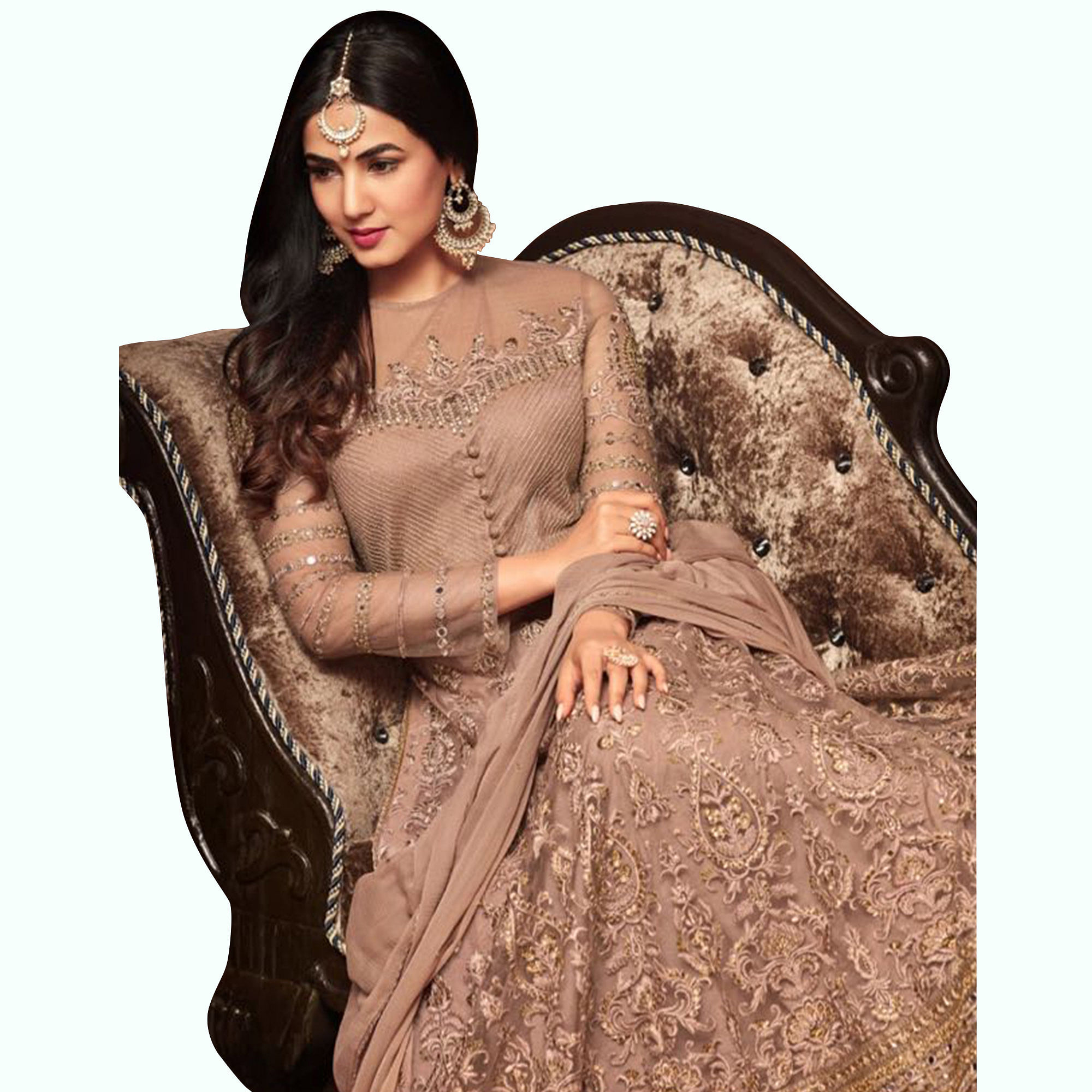 Flirty Beige Colored Partywear Embroidered Netted Lehenga Kameez