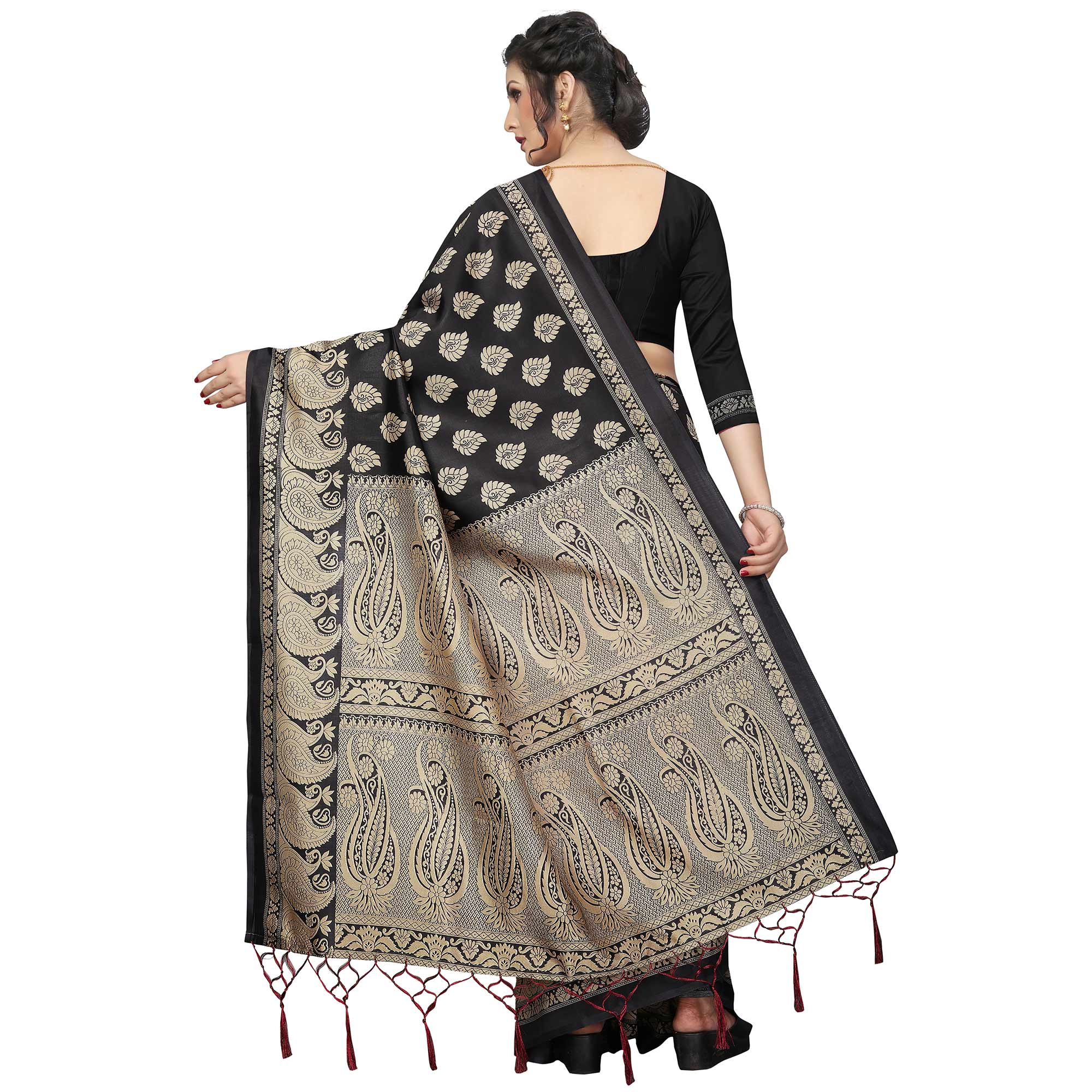 Refreshing Black-Red Colored Festive Wear Printed Banarasi Art Silk Half-Half Saree