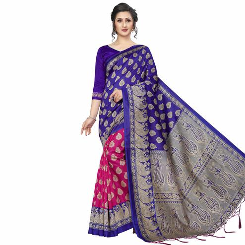 Magnetic Blue-Pink Colored Festive Wear Printed Banarasi Art Silk Half-Half Saree