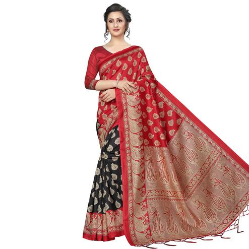 Hypnotic Red-Black Colored Festive Wear Printed Banarasi Art Silk Half-Half Saree