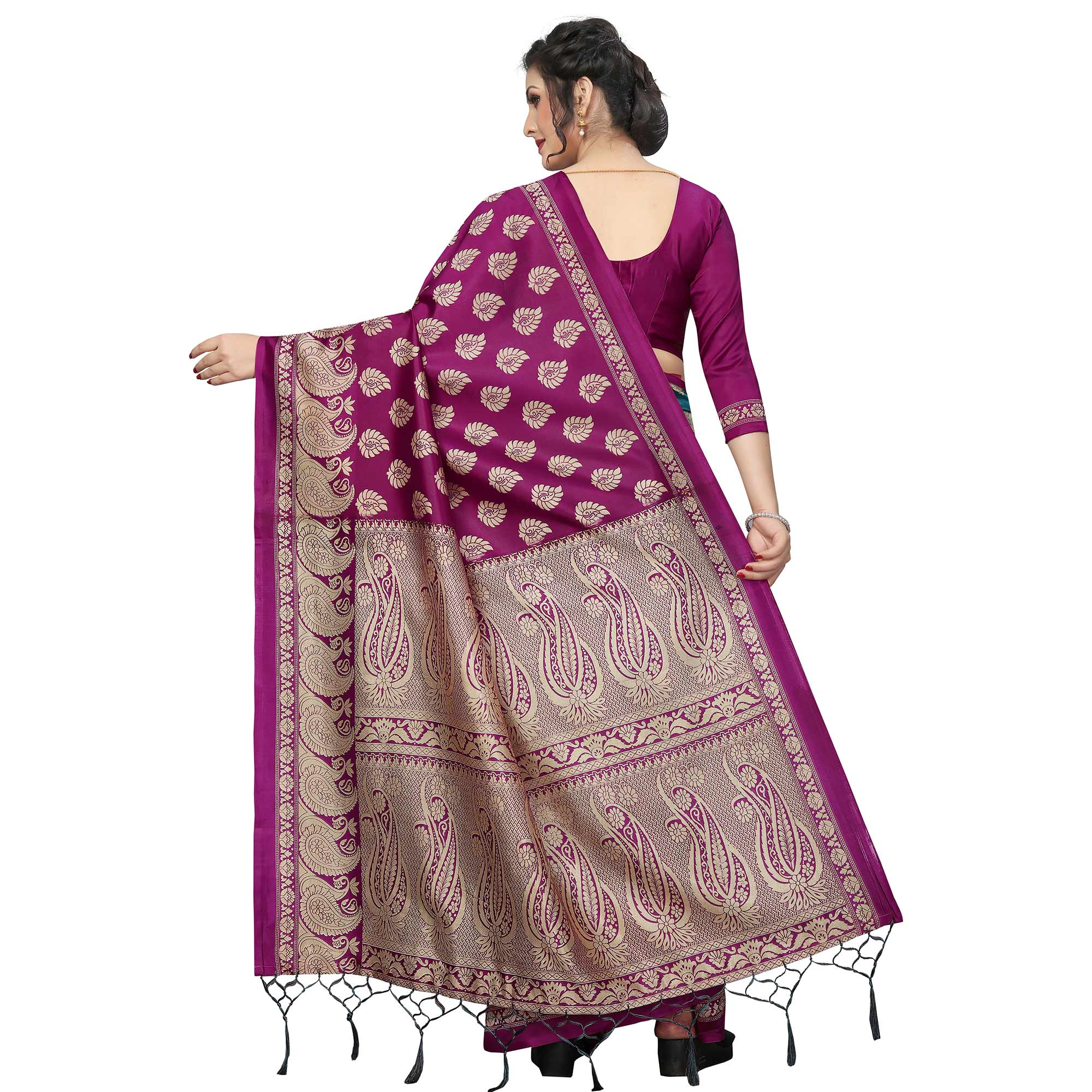 Flattering Wine-Rama Colored Festive Wear Printed Banarasi Art Silk Half-Half Saree