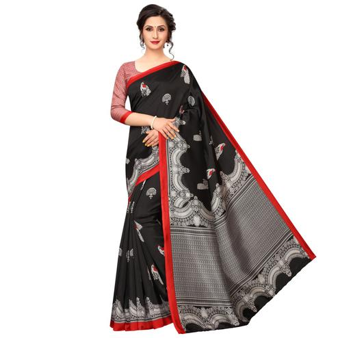Blissful Black Colored Festive Wear Printed Banarasi Art Silk Saree