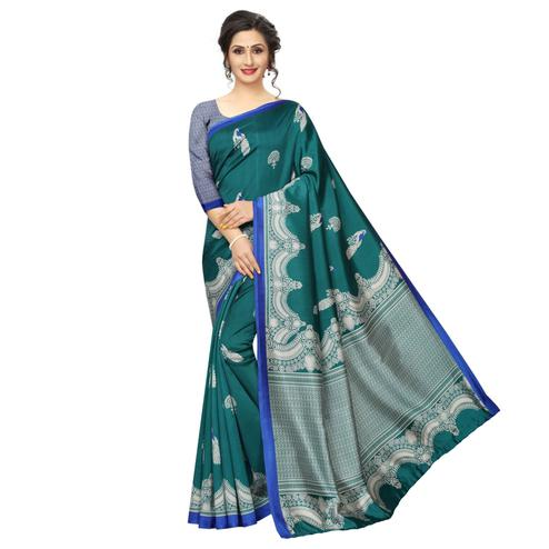 Ideal Teal Green Colored Festive Wear Printed Banarasi Art Silk Saree