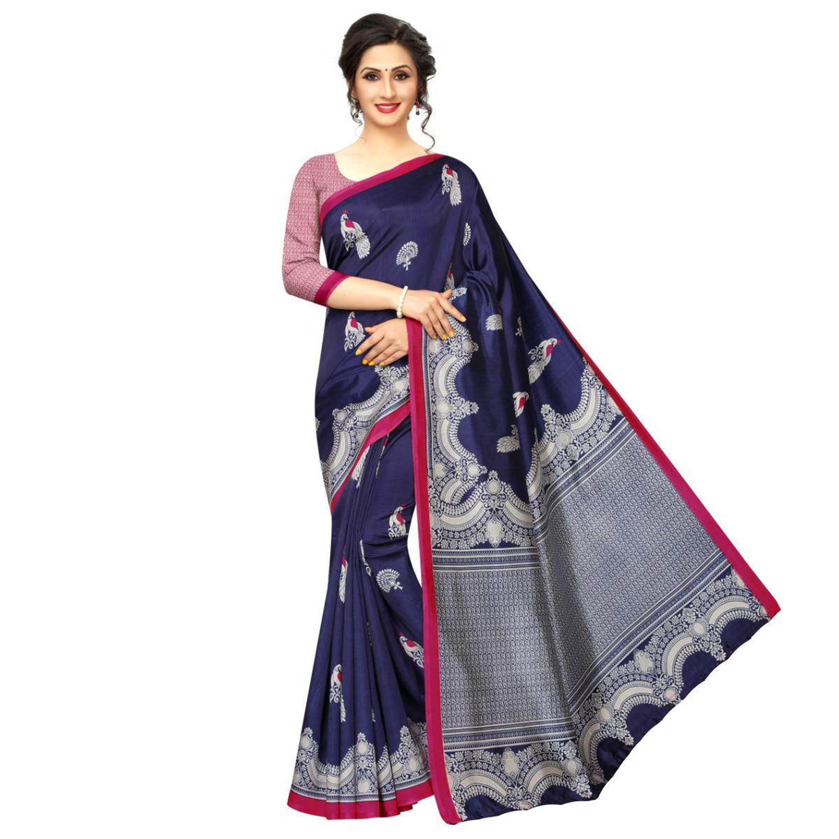 Imposing Navy Blue Colored Festive Wear Printed Banarasi Art Silk Saree