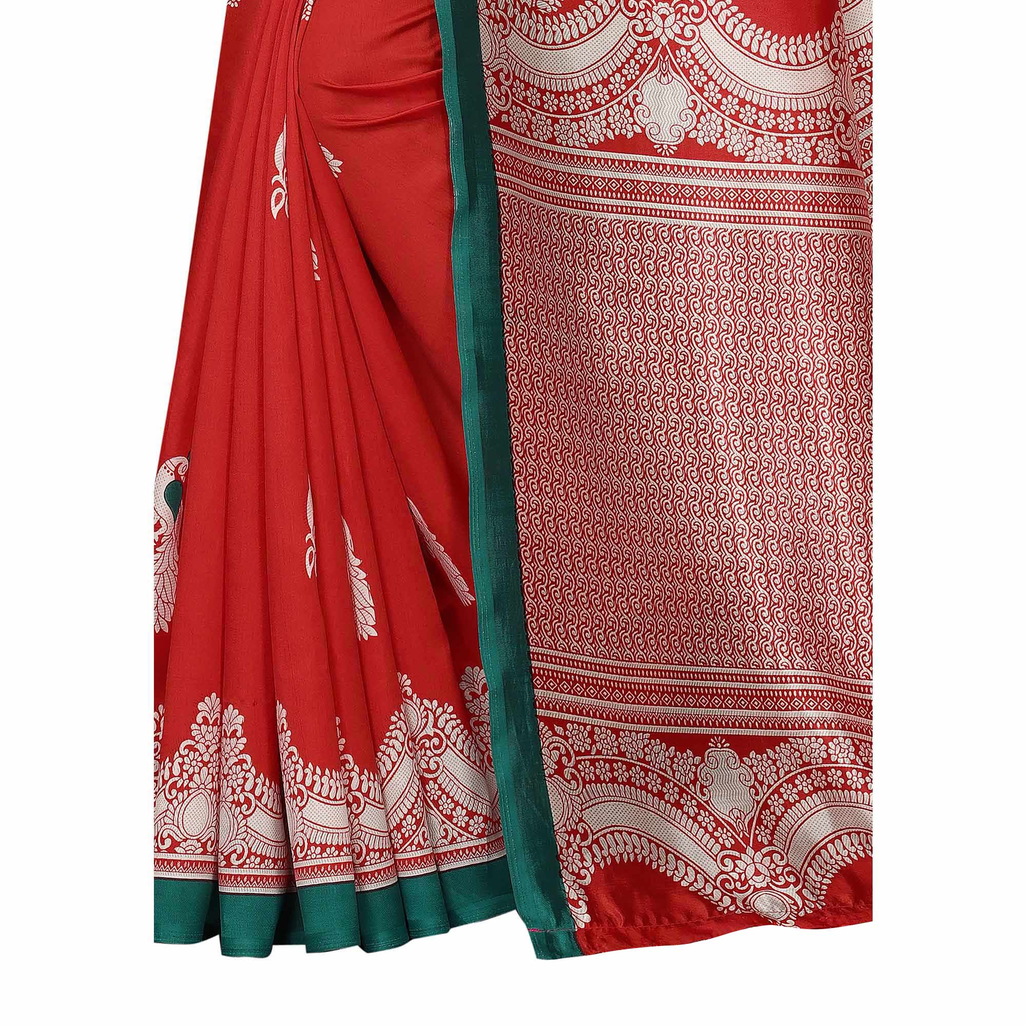 Lovely Red Colored Festive Wear Printed Banarasi Art Silk Saree