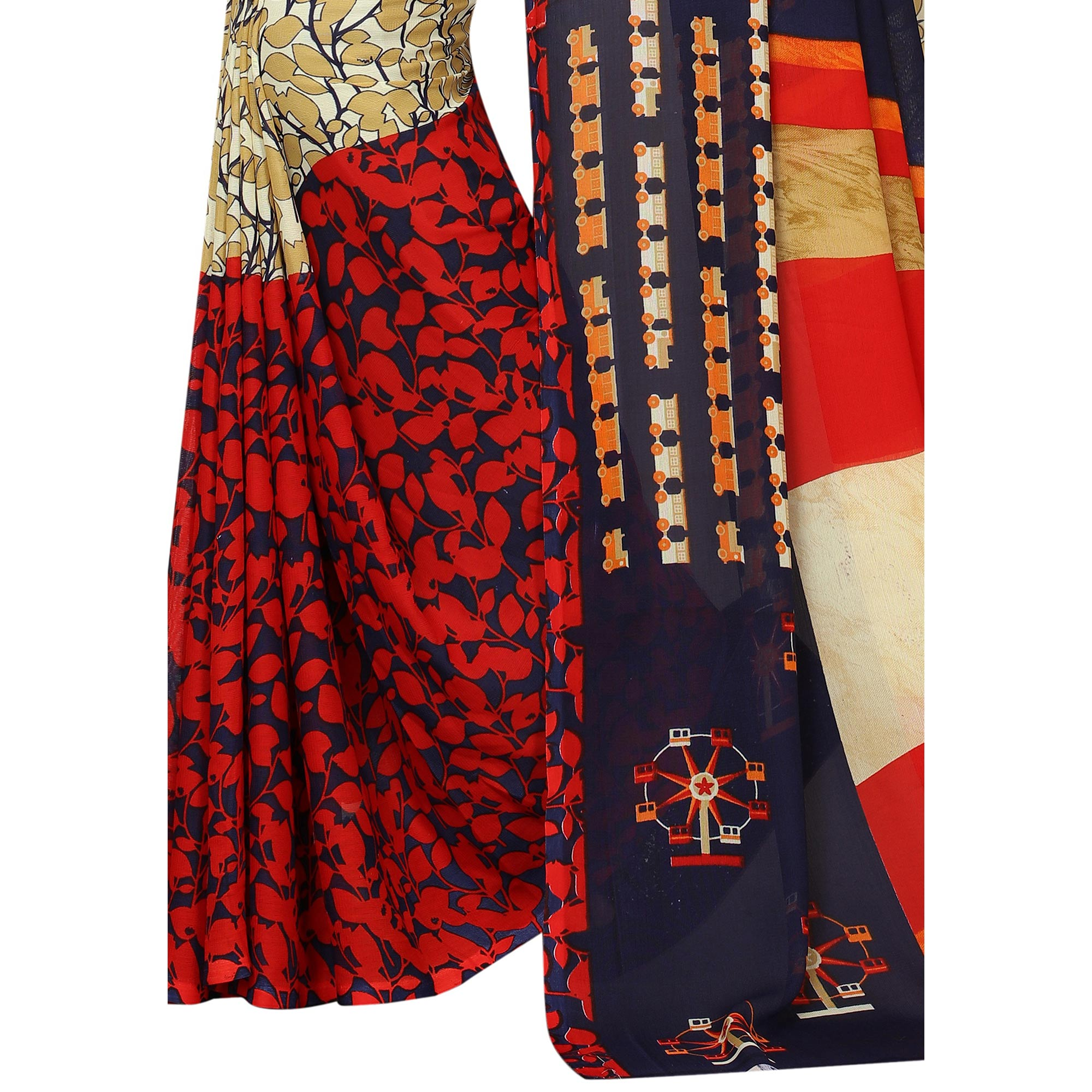 Graceful Beige-Multi Colored Casual Printed Georgette Saree