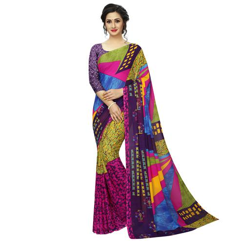 Blooming Green-Multi Colored Casual Printed Georgette Saree