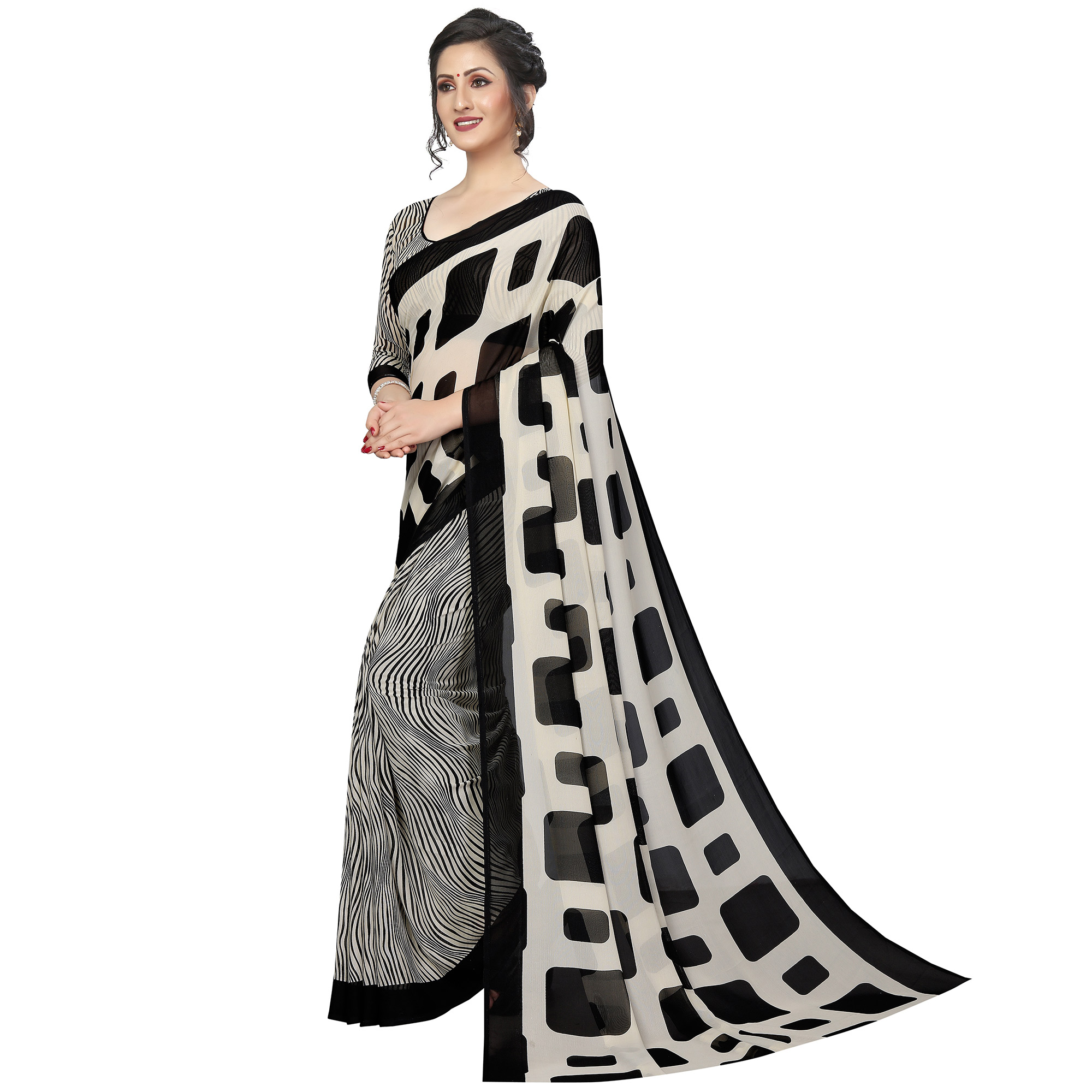 Charming Black-White Colored Casual Printed Georgette Saree