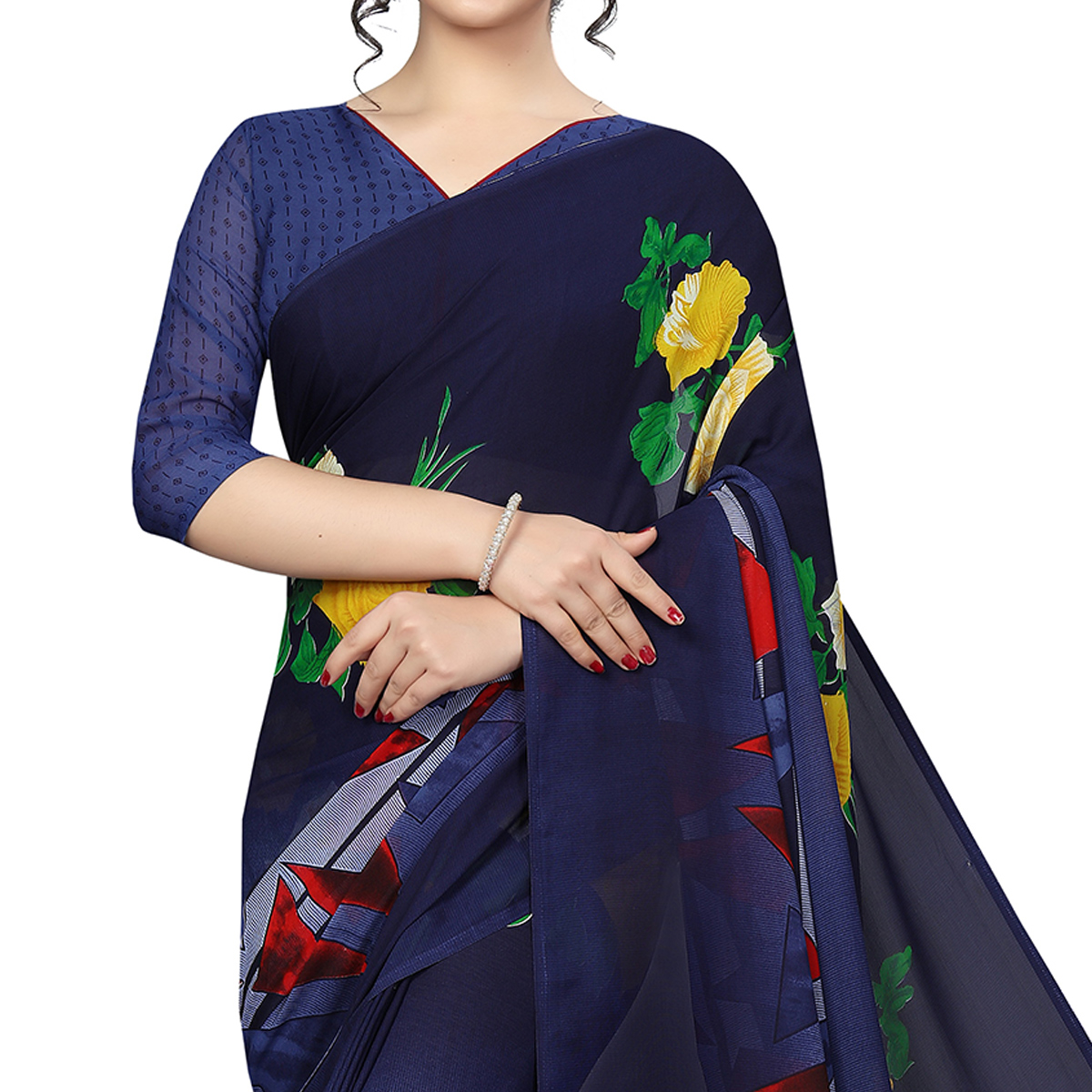 Jazzy Blue Colored Casual Printed Georgette Saree