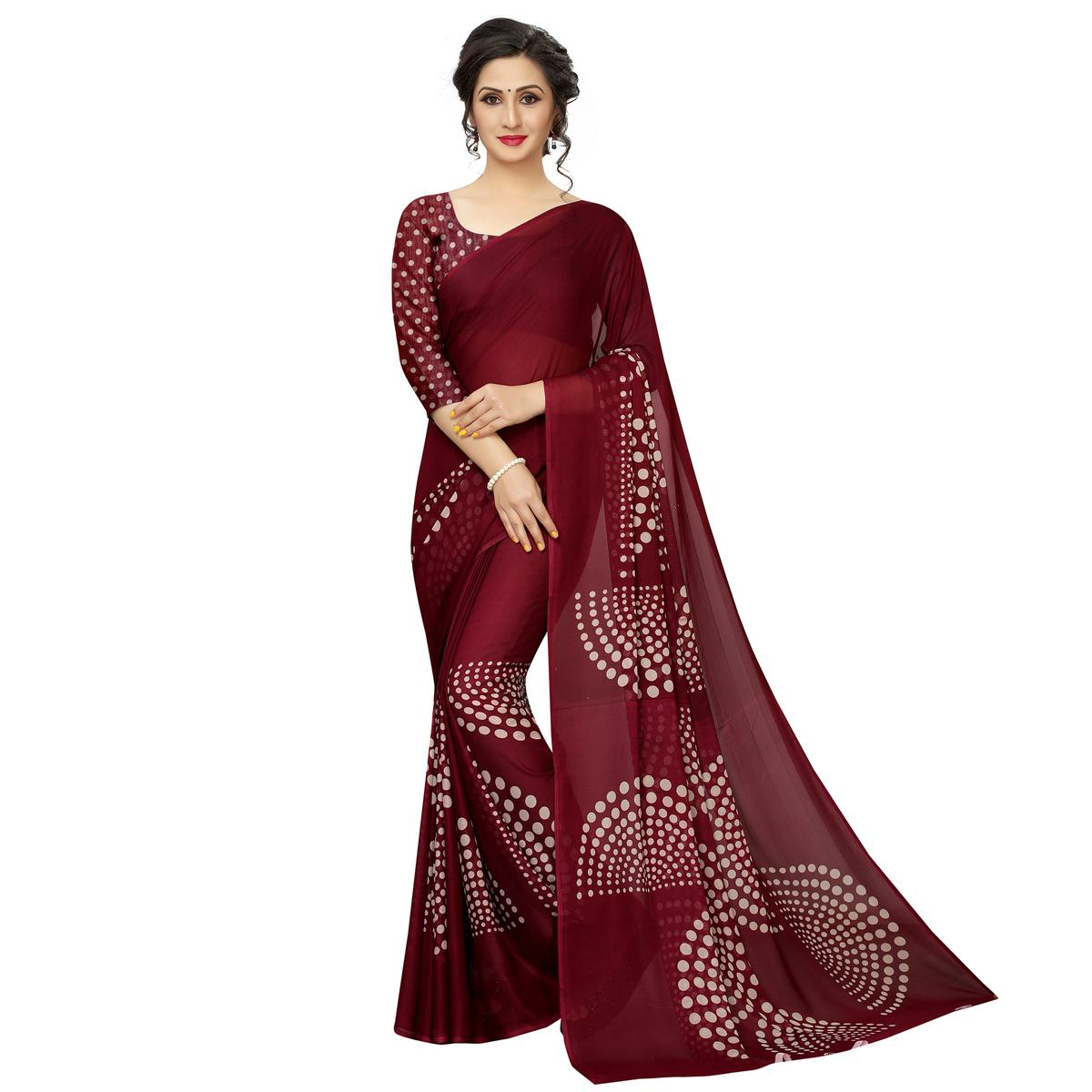 Delightful Pink Colored Casual Printed Georgette Saree