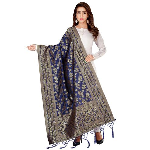 Adorable Navy Blue Colored Festive Wear Banarasi Silk Dupatta