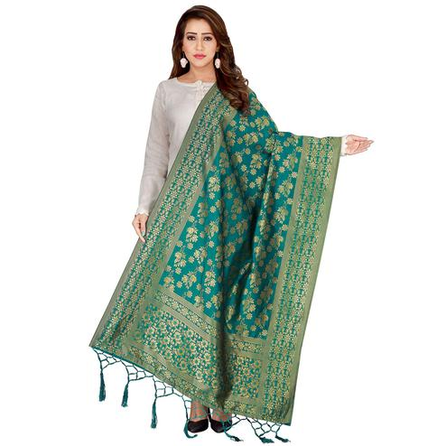 Glorious Green Colored Festive Wear Banarasi Silk Dupatta