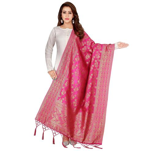Attractive Pink Colored Festive Wear Banarasi Silk Dupatta