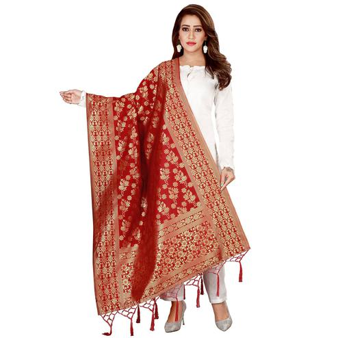 Beautiful Red Colored Festive Wear Banarasi Silk Dupatta