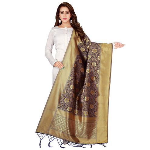 Graceful Navy Blue Colored Festive Wear Banarasi Silk Dupatta