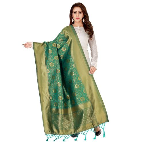 Blooming Green Colored Festive Wear Banarasi Silk Dupatta