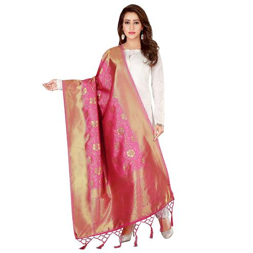 Charming Pink Colored Festive Wear Banarasi Silk Dupatta