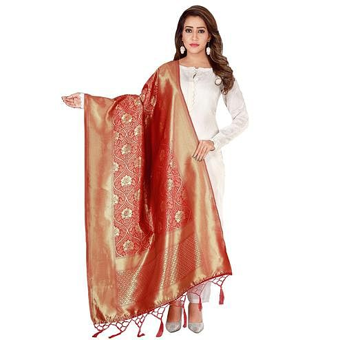 Jazzy Red Colored Festive Wear Banarasi Silk Dupatta