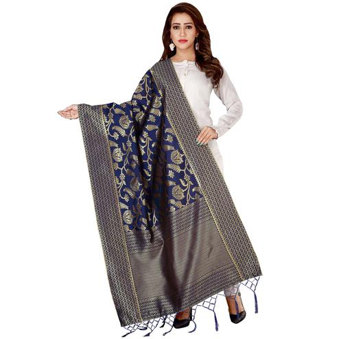 Delightful Navy Blue Colored Festive Wear Banarasi Silk Dupatta