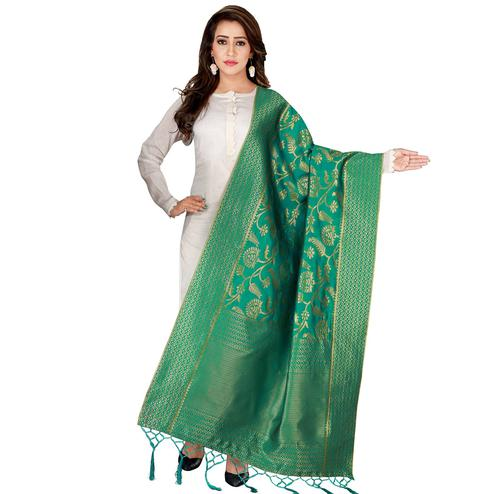 Engrossing Green Colored Festive Wear Banarasi Silk Dupatta