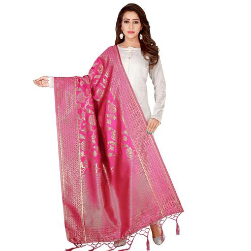 Captivating Pink Colored Festive Wear Banarasi Silk Dupatta