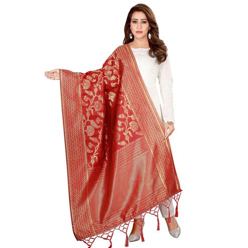 Innovative Red Colored Festive Wear Banarasi Silk Dupatta