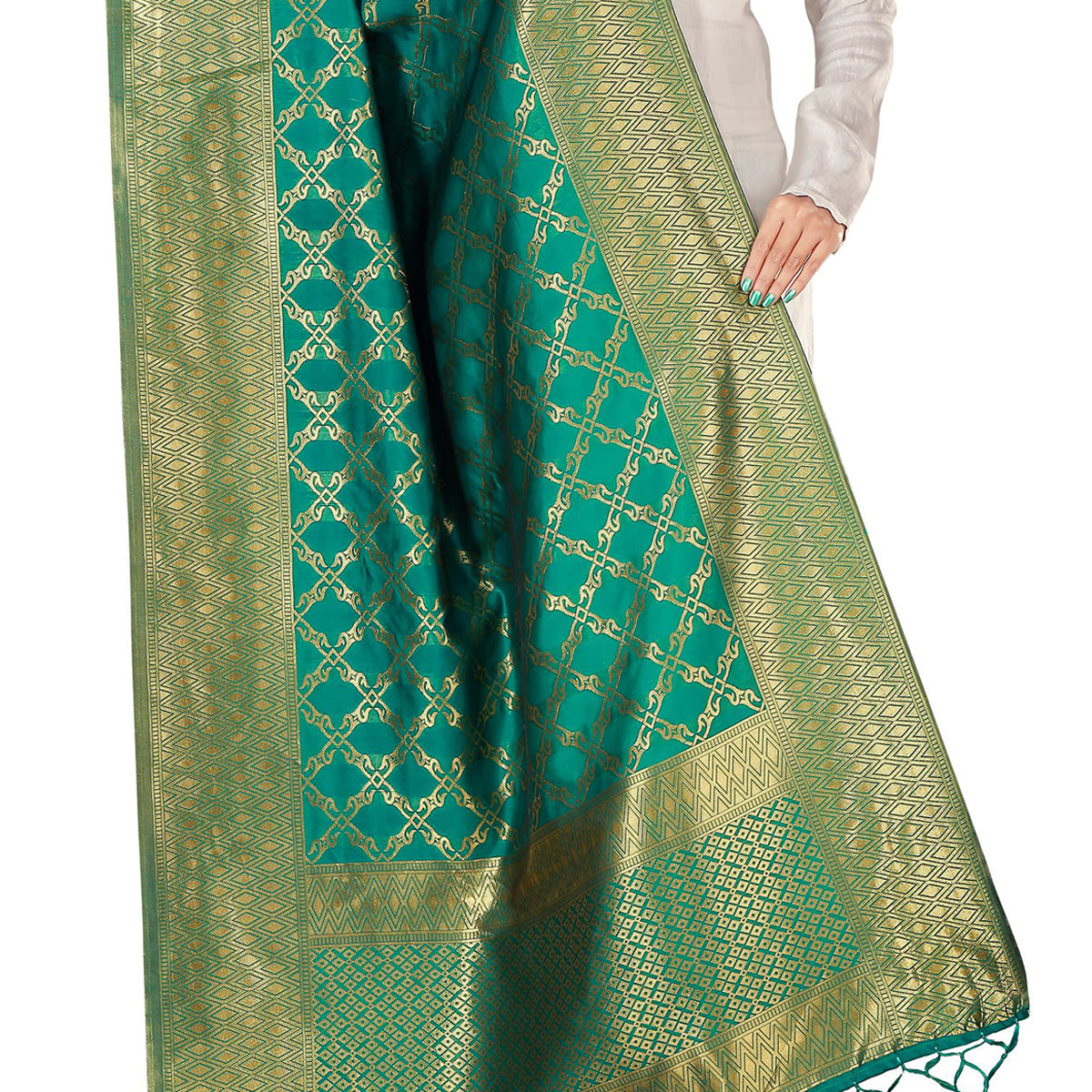 Eye-catching Green Colored Festive Wear Banarasi Silk Dupatta