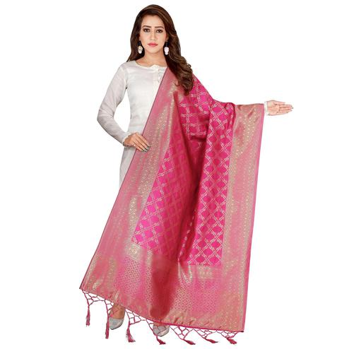 Fantastic Pink Colored Festive Wear Banarasi Silk Dupatta