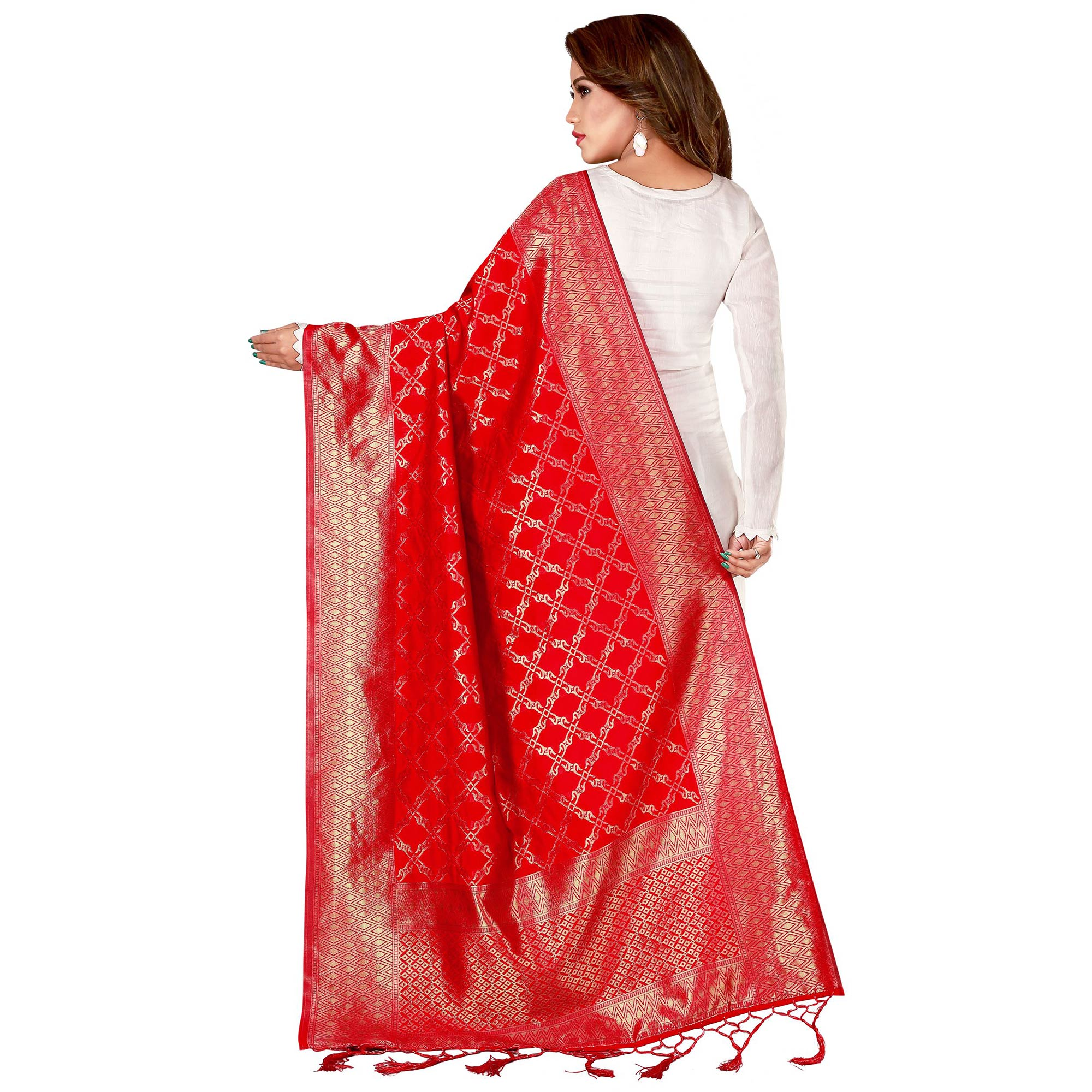 Amazing Red Colored Festive Wear Banarasi Silk Dupatta