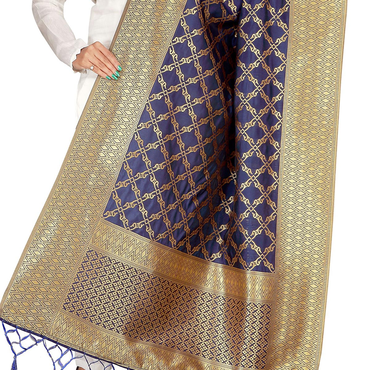 Gorgeous Navy Blue Colored Festive Wear Banarasi Silk Dupatta
