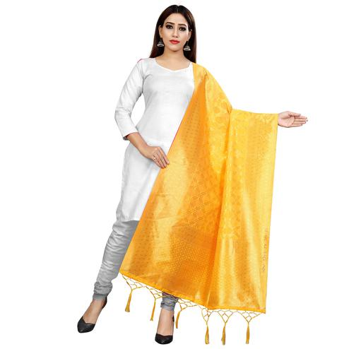 Ideal Yellow Colored Festive Wear Banarasi Silk Dupatta