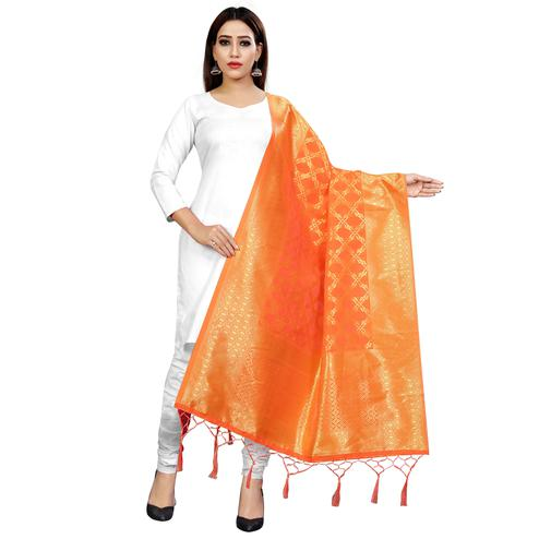 Imposing Orange Colored Festive Wear Banarasi Silk Dupatta