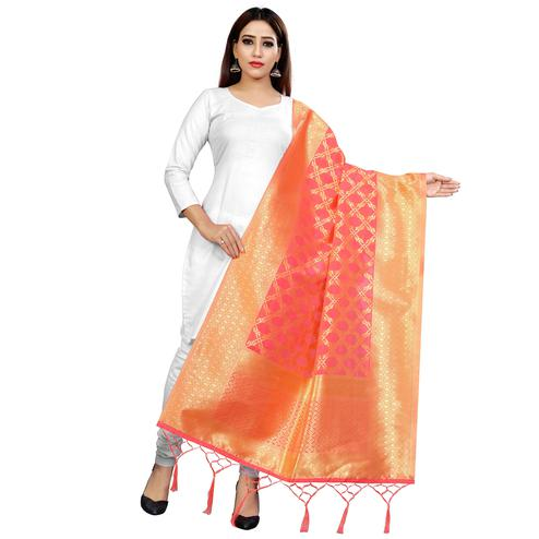 Lovely Peach Colored Festive Wear Banarasi Silk Dupatta