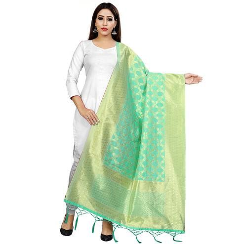 Majesty Aqua Green Colored Festive Wear Banarasi Silk Dupatta
