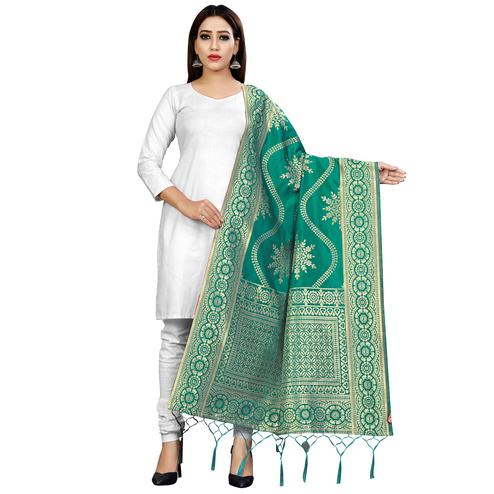 Impressive Green Colored Festive Wear Banarasi Silk Dupatta