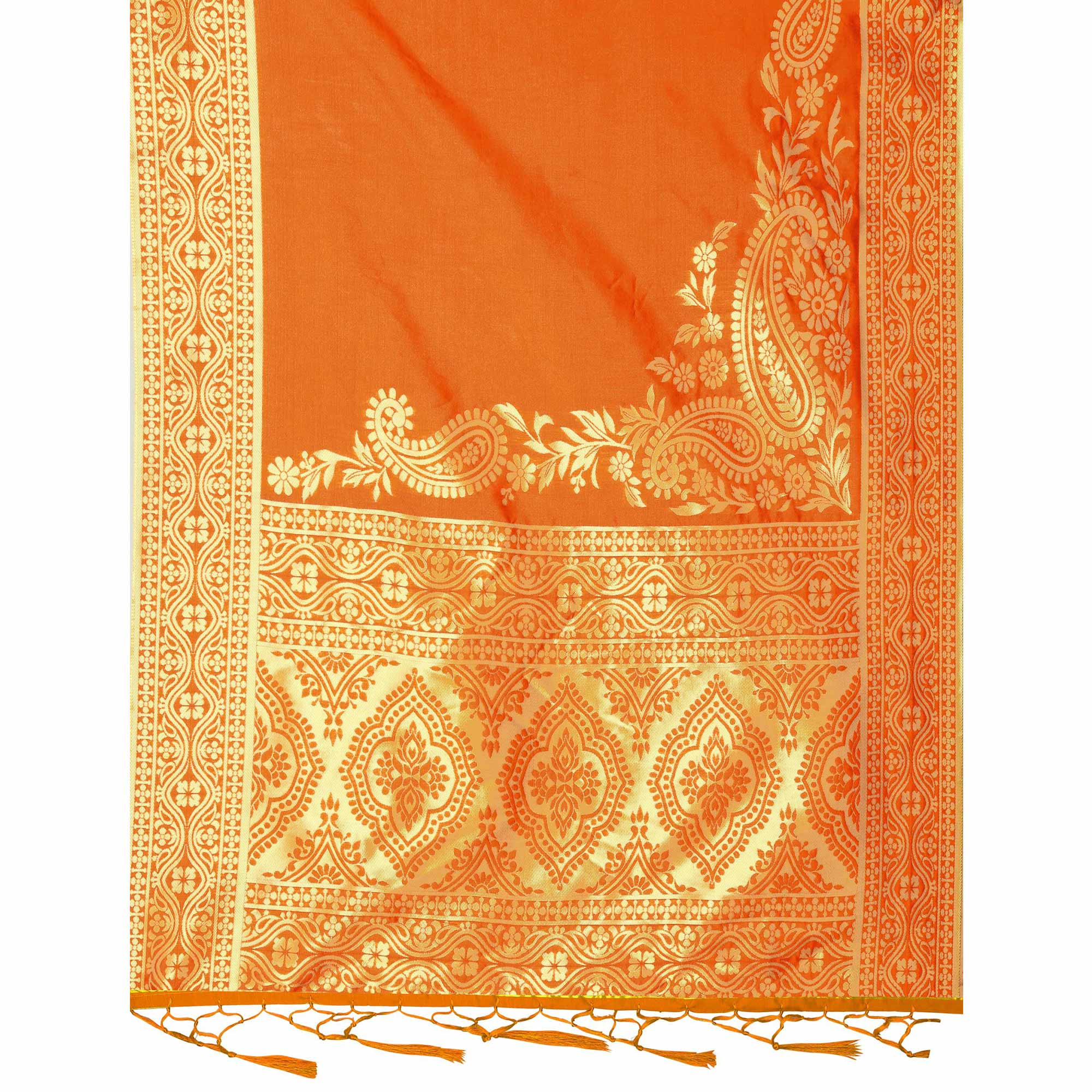 Mesmerising Orange Colored Festive Wear Banarasi Silk Dupatta
