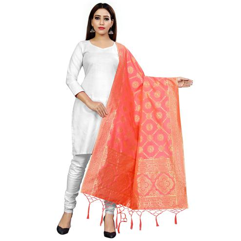 Pleasance Peach Colored Festive Wear Banarasi Silk Dupatta