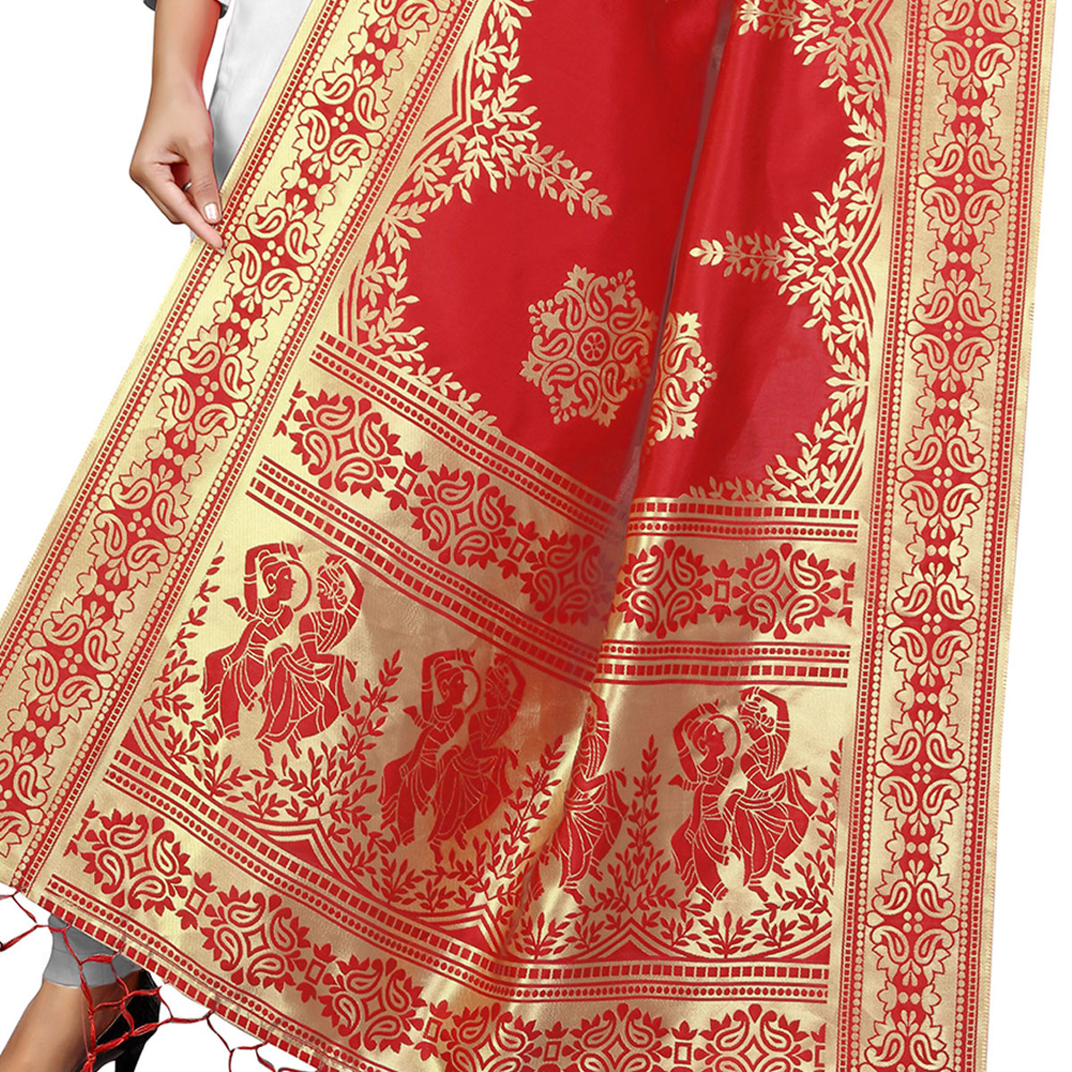 Breathtaking Red Colored Festive Wear Banarasi Silk Dupatta