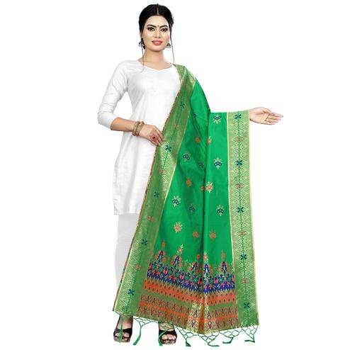 Ravishing Green Colored Festive Wear Banarasi Silk Dupatta