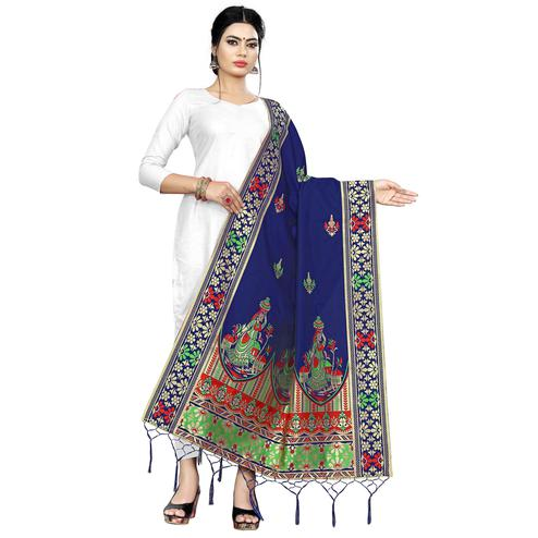 Staring Navy Blue Colored Festive Wear Banarasi Silk Dupatta