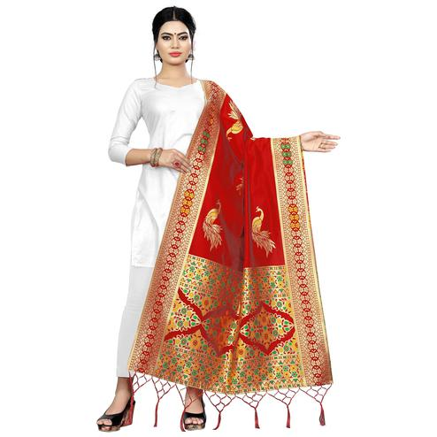 Dazzling Red Colored Festive Wear Banarasi Silk Dupatta