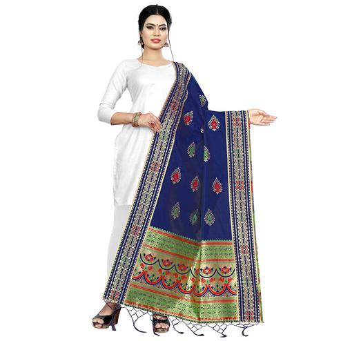 Surpassing Navy Blue Colored Festive Wear Banarasi Silk Dupatta